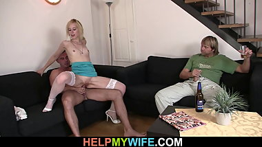 Young blonde sucks and rides another cock