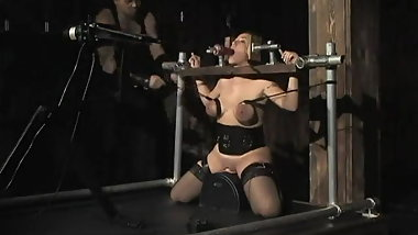 Bound tits and locked on a Sybian