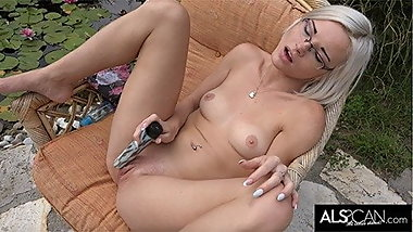 Hot Blonde in Glasses Cums Again and Again Outside