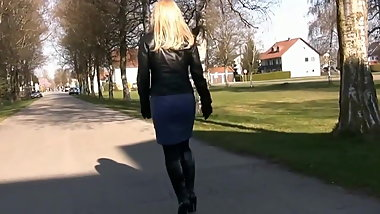 Nice Woman in Tight Leather  Skirt
