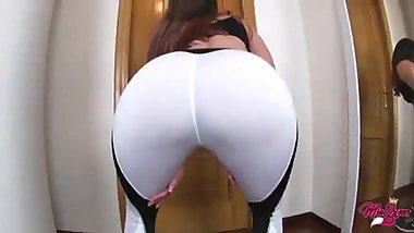Latina in yoga pants - Doggy-style