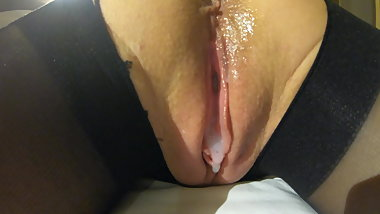 Pounding Fuck and Dripping Cum on Pantyhose