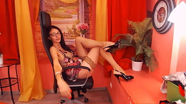 Rom MILF does a little show. Skinny. Nice legs.