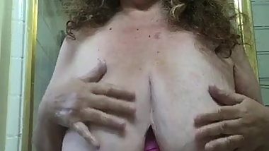 Grandma YOU'D Like To Fuck Washes Her Tits For Good With Bra