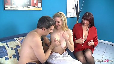 Saggy Tits Teen at Porn Casting and German Mature help her