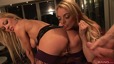 Sex Tower- Two uk blondes in pvc and a lucky guy