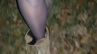 Pantyhose in the woods