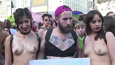 Topless Argentinian protesters