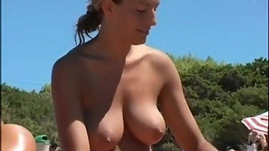 Nice titted blonde on the beach