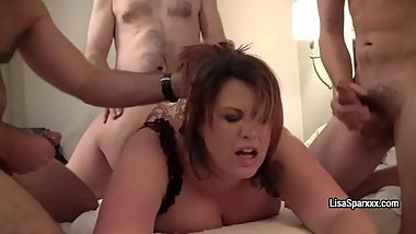 BBW Lisa Sparxxx gangbanged and showered in cum