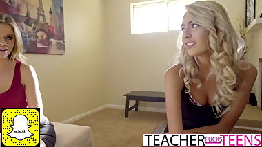 Naughty blonde teacher and teen share huge cock and cum