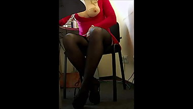 Hot blondee in red dress at work..)