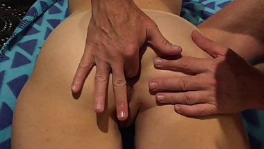 Wifes mesmerising asshole lubed finger, caressed and fucked