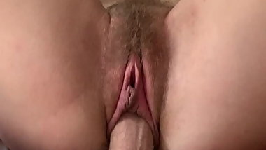 meaty, tight n hairy cunt rides thick, stiff n furry cock