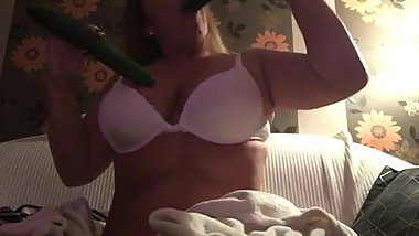 Hungarian girl suck two cucumbers Ivett Toth part2.