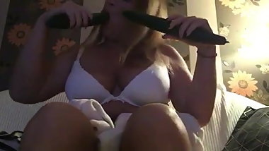 Hungarian girl suck two cucumbers Ivett Toth part3.