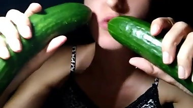 Hungarian girl suck two cucumbers Ildiko Gyorkei part2.