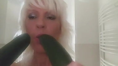 Hungarian milf suck two cucmbers. Edit Deak