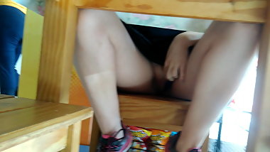 Wife exhib thong in the restaurant