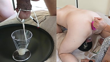 Wife uses e-stim and prostate massage to milk him