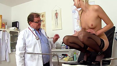Woman and doctor, medical checkup of pussy, cervix and ass