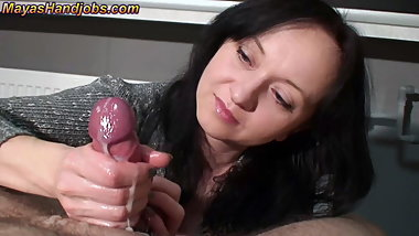 Femdom edging rock hard cock squeezing balls and 2 cumshots