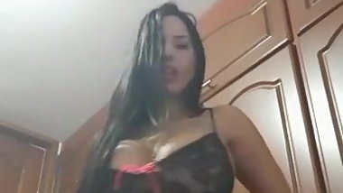 Venezuelan with huge tits jams a dildo in her pussy