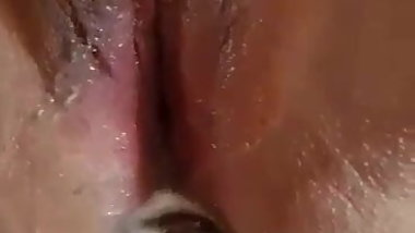 Big Assed Asian Squirts as her BF dildo fucks her