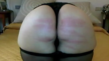 Wife take good caning in bedroom
