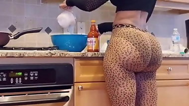 Big booty sister cooking dinner