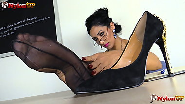 Teacher in stockings strapon JOI