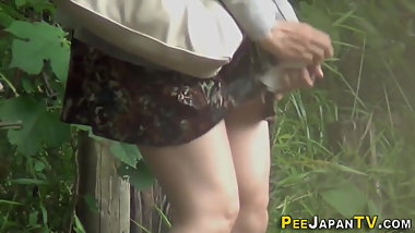 Japanese babe piss soaks her pants
