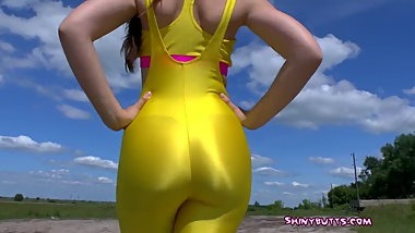 Shiny Yellow Catsuit