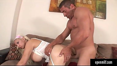 Big tittied milf giving a nice titjob and hard sex to a guy