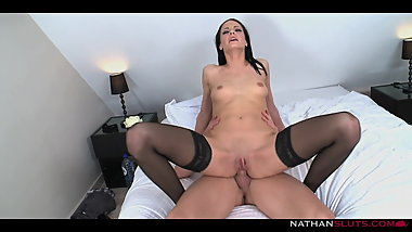 Aliz has a taste at Leo's dildo and sex toys up her ass