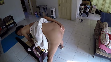 princess fucktoy over chair sucks cock and hard belted