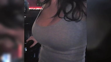 Candid bartender huge perfect natural tits
