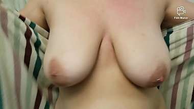 Big natural tits in slow motion as MILF towels off